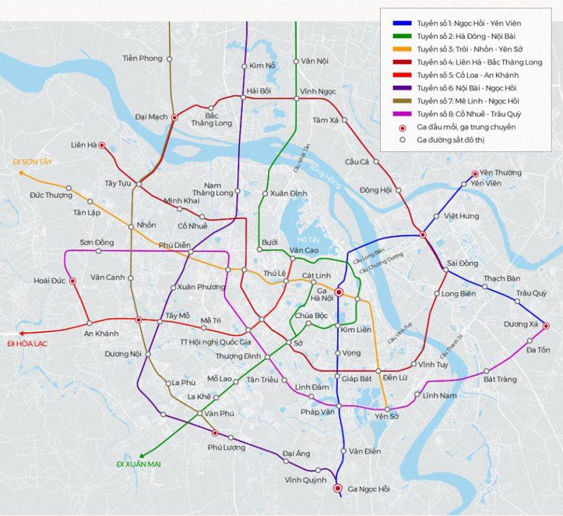 Bản đồ quy hoạch các tuyến đường sắt đô thị Metro trong tương lai