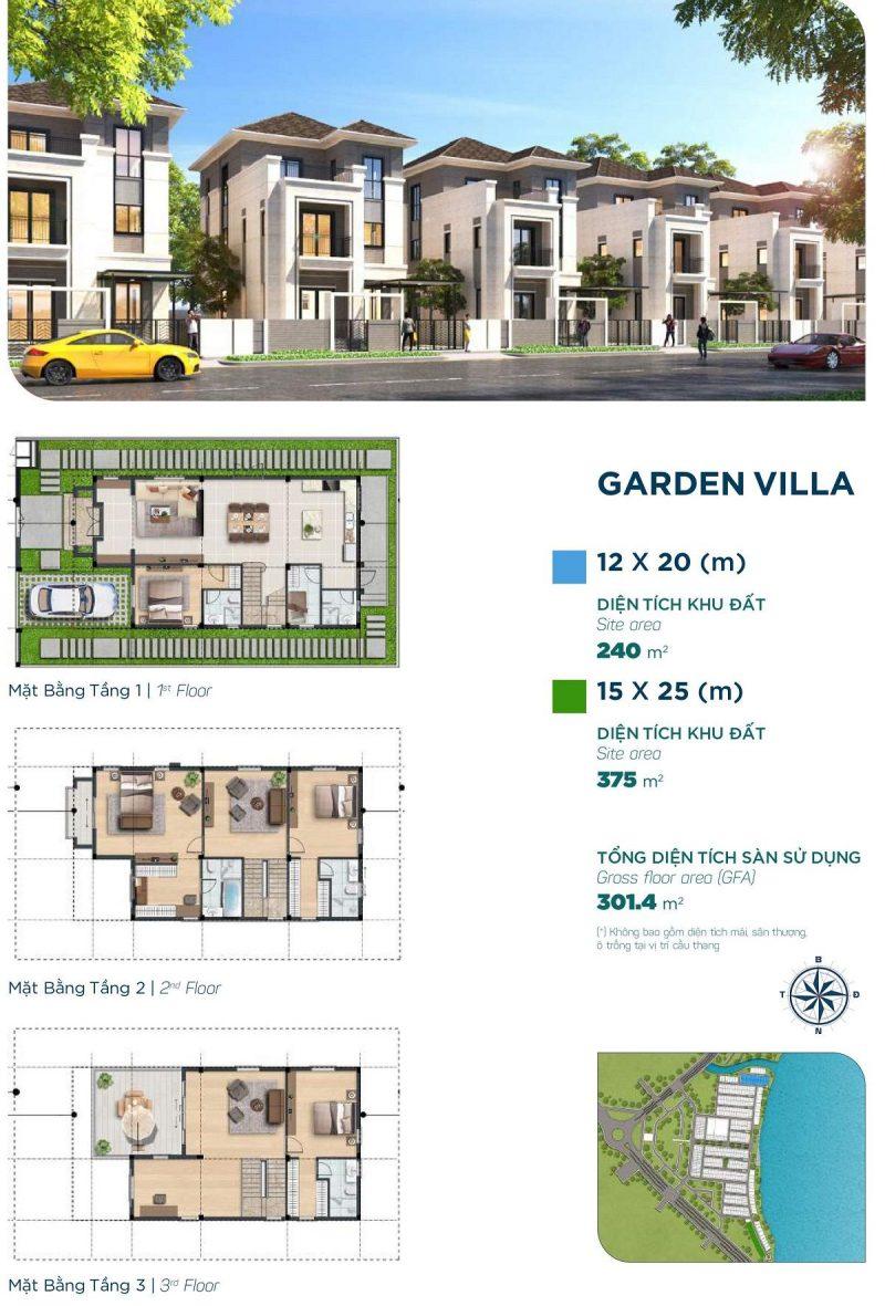 Biệt thự Garden Villa 12x20m Phân khu Elite 1 dự án Aqua City