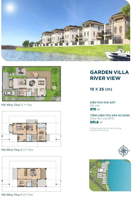 Biệt thự Garden Villa River View 15x25m Phân khu Elite 1 dự án Aqua City