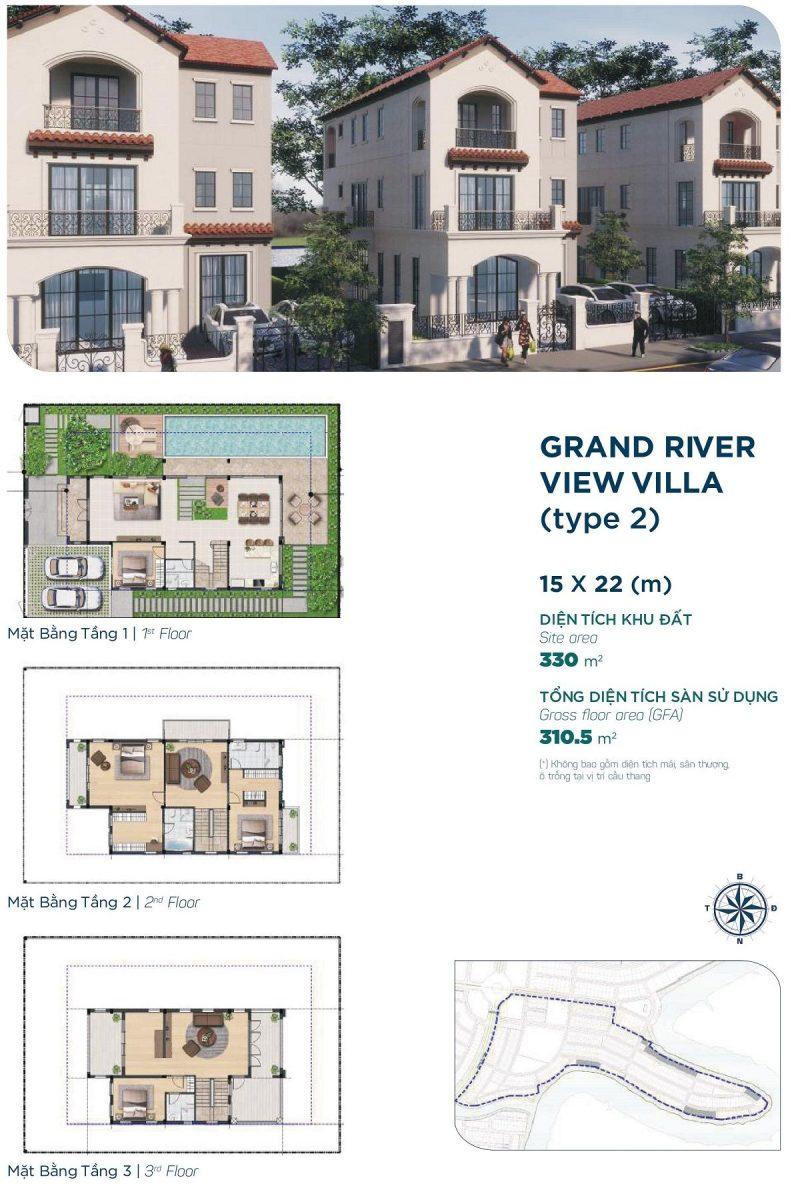 Biệt thự Grand River View Villa 15x22m Style 2 phân khu Elite 2 dự án Aqua City