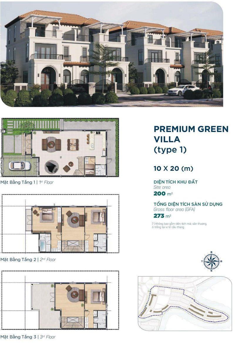 Biệt thự Premium Green Villa 10x20m Style 1 phân khu Elite 2 dự án Aqua City