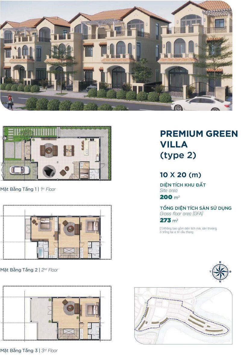 Biệt thự Premium Green Villa 10x20m Style 2 phân khu Elite 2 dự án Aqua City