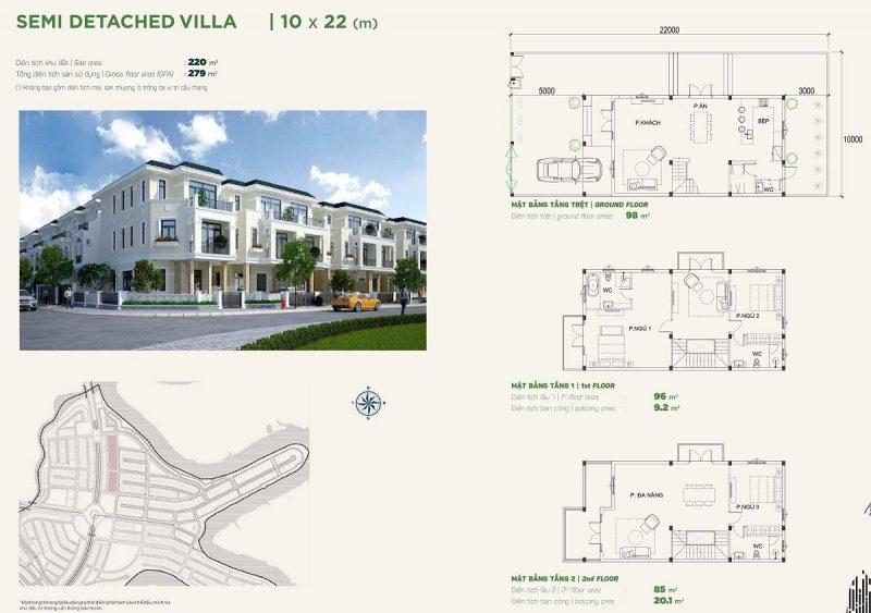 Biệt thự Semidetached Villa 10x20m Phân khu Stella dự án Aqua City
