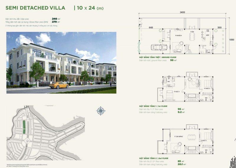 Biệt thự Semidetached Villa 10x24m Phân khu Stella dự án Aqua City