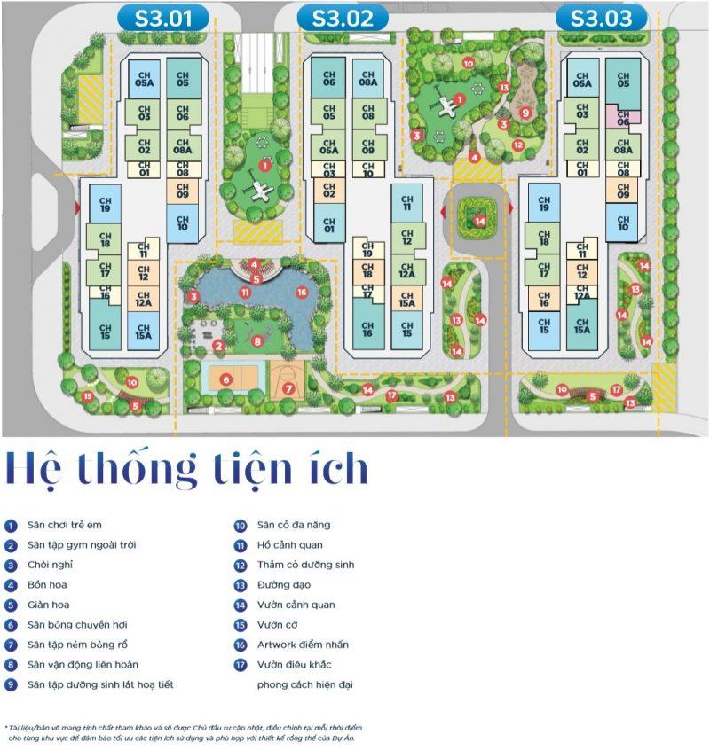 Hệ thống tiện ích phân khu Sapphire 3 Vinhomes Smart City