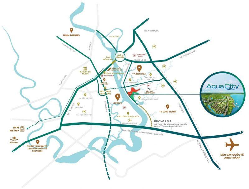 Khu đô thị Aqua City Biên Hòa Đồng Nai sở hữu vị trí đẹp hiếm có