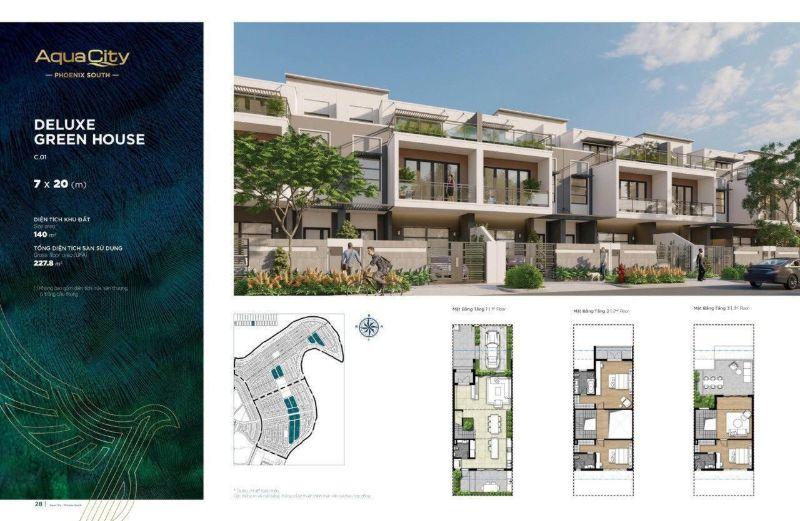 Mat bang Nha pho 8×20 tai phan khu Phoenix South Aqua City - AQUA CITY