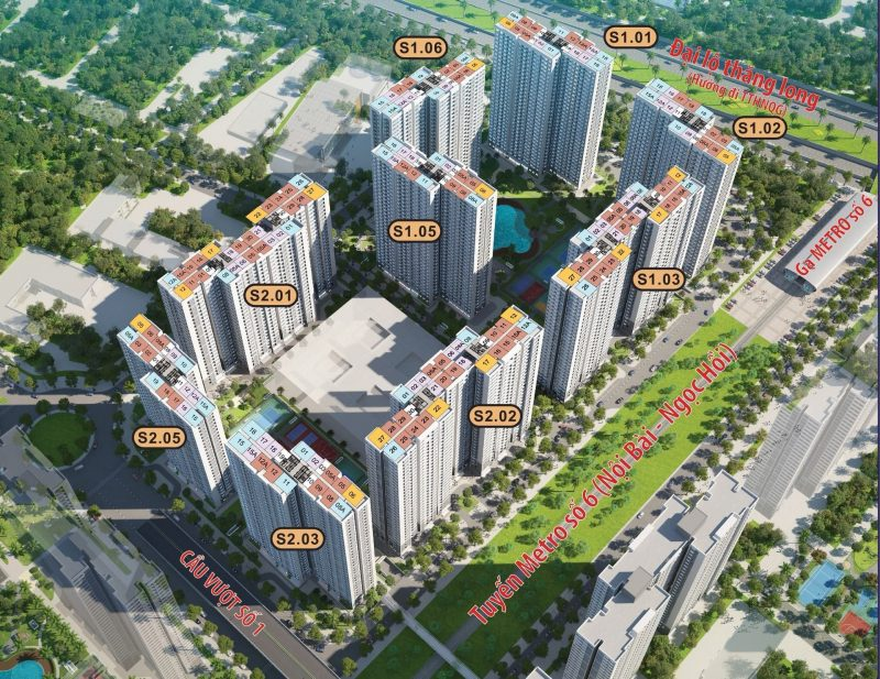 Mặt bằng Sapphire 1&2 Vinhomes Smart City