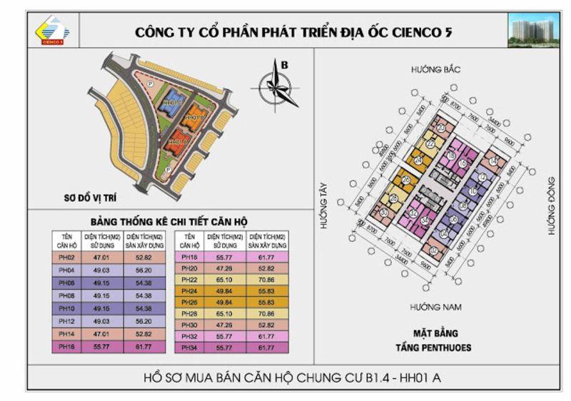 Mat bang penthouse chung cu B1 4 Thanh Ha Cienco 5 - KHU ĐÔ THỊ THANH HÀ