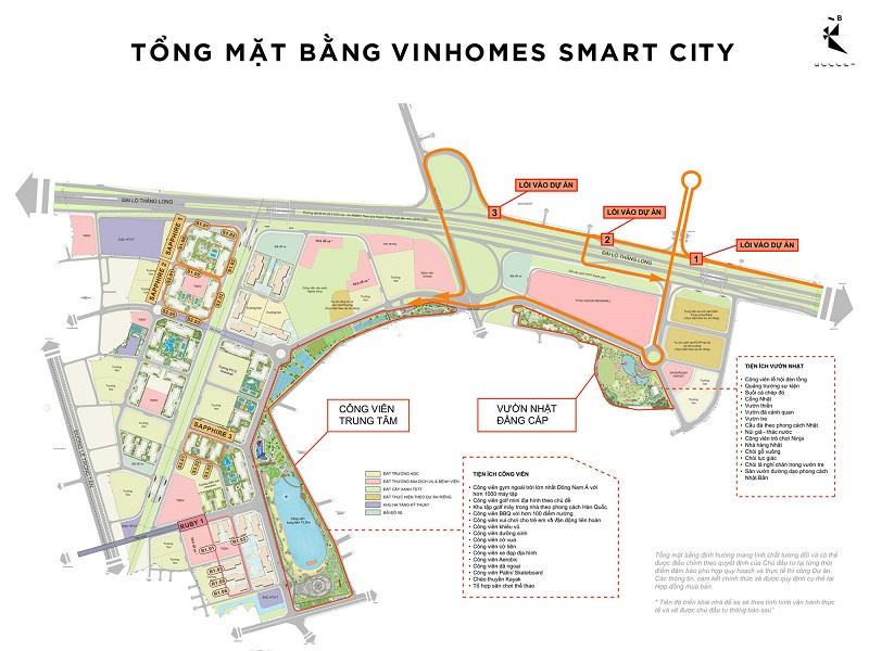 Mặt bằng tổng thể toàn bộ dự án Smart City Vinhomes