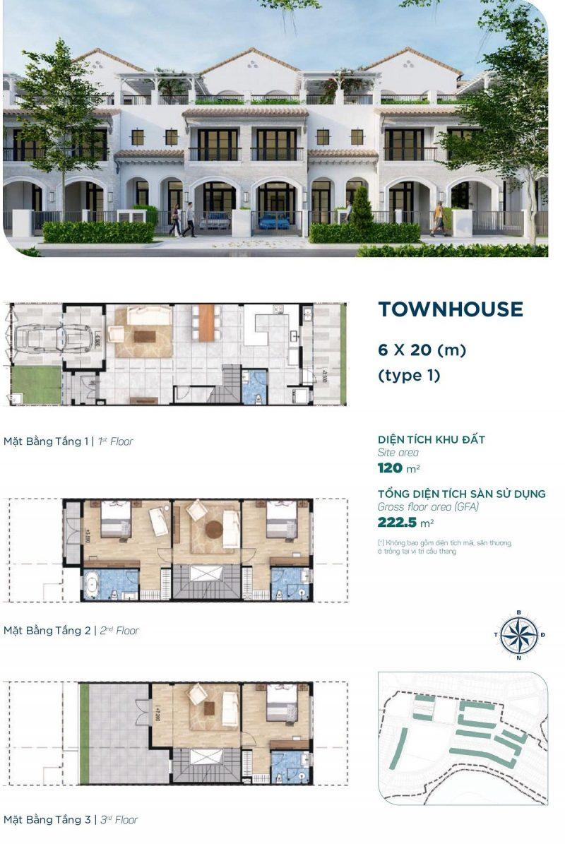 Nhà phố Townhouse 6x20m Style 1 phân khu Elite 2 dự án Aqua City