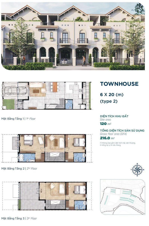 Nhà phố Townhouse 6x20m Style 2 phân khu Elite 2 dự án Aqua City