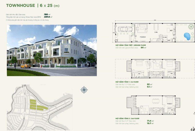 Nhà phố liền kề Townhouse 6x25m phân khu Stella dự án Aqua City
