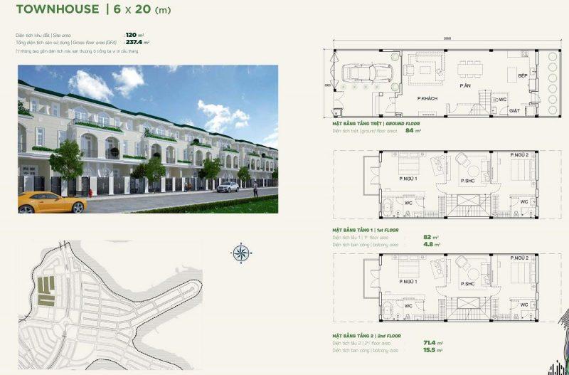 Nhà phố liền kề Townhouse 6x20m phân khu Stella dự án Aqua City