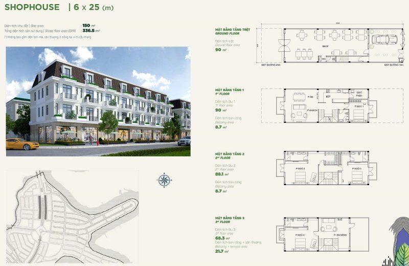 Shophouse 6x25m Phân khu Stella dự án Aqua City