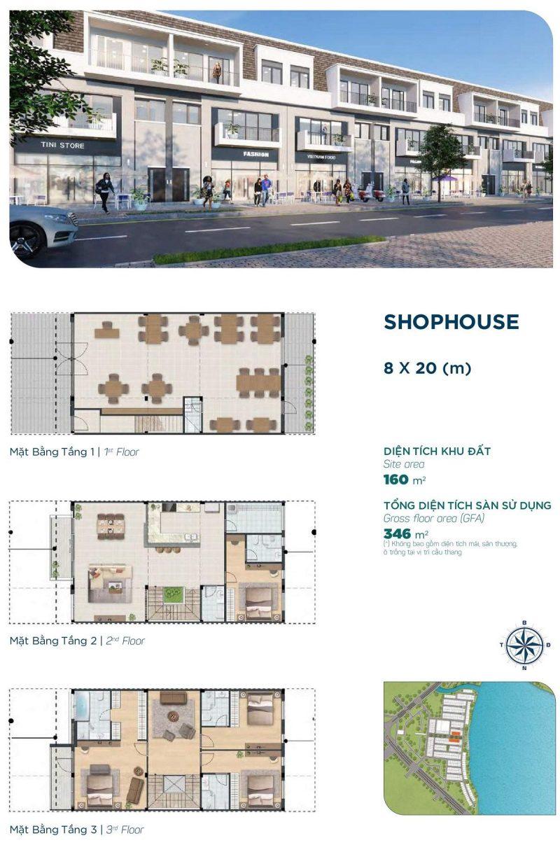 Shophouse 8x20m Phân khu Elite 1 dự án Aqua City
