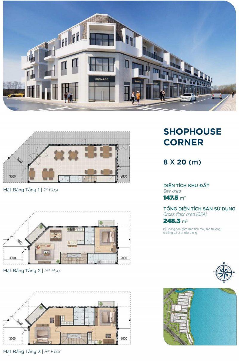 Shophouse Corner 8x20m Phân khu Elite 1 dự án Aqua City