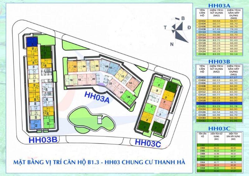 So do mat bang khu chung cu B1.3 H003 Thanh Ha - KHU ĐÔ THỊ THANH HÀ