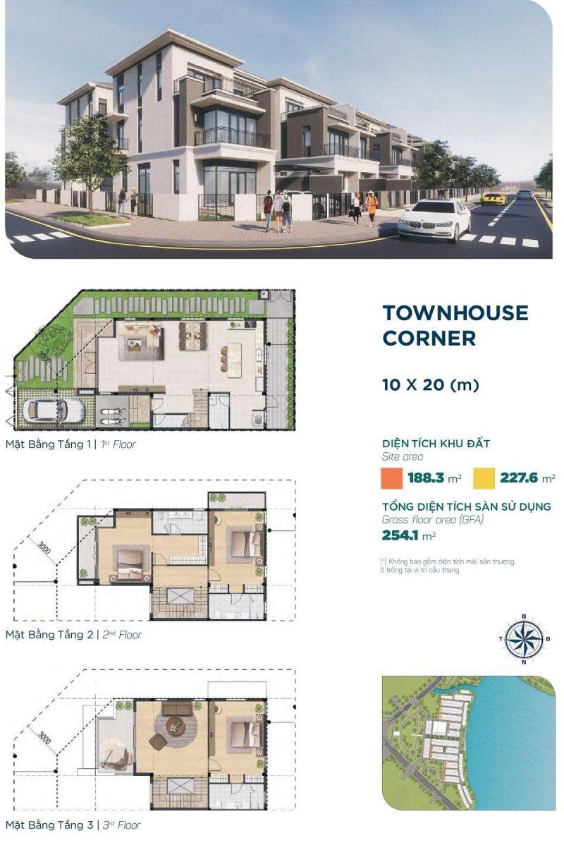 Townhouse Corner 10x20m Phân khu Elite 1 dự án Aqua City