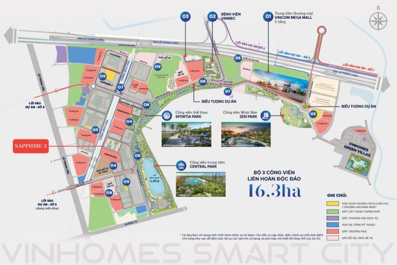 Vị trí phân khu Sapphire 3 Vinhomes Smart City