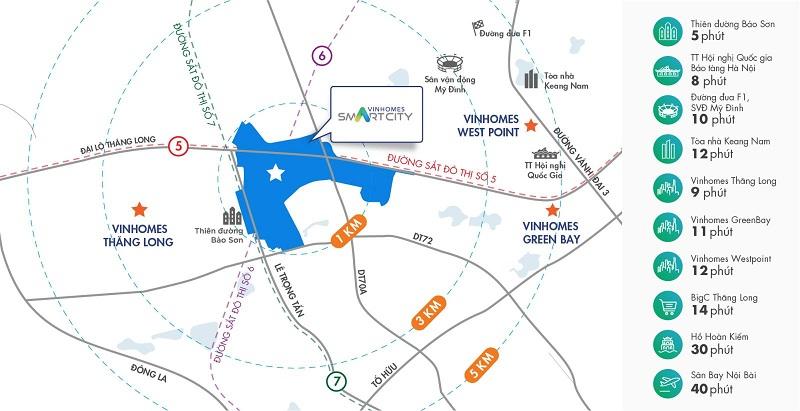 Vinhomes Smart City Tây Mỗ Đại Mỗ nằm gần các tuyến đường huyết mạch của Hà Nội