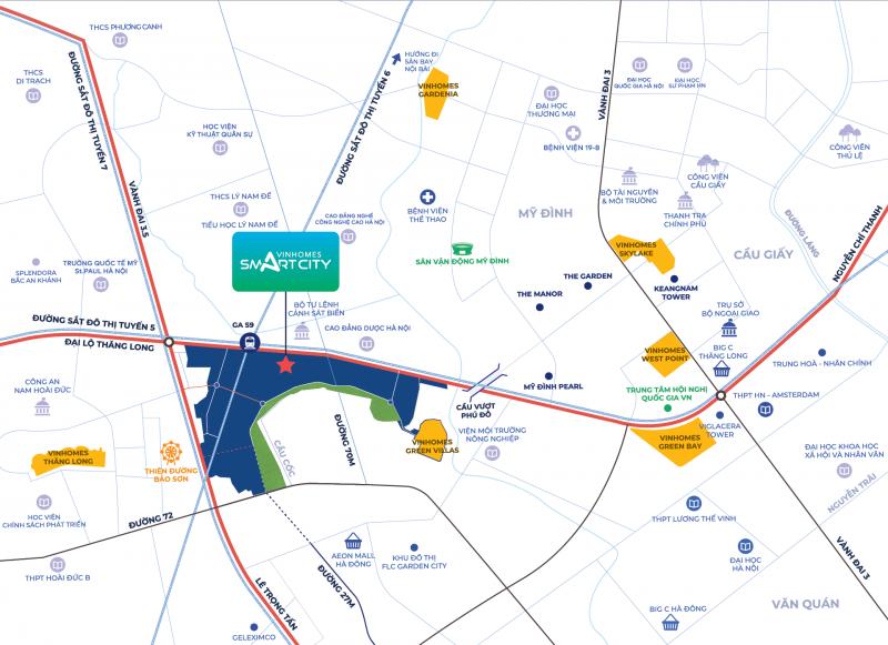 Vinhomes Smart City nằm ở vị trí trung tâm của của một khu vực sầm uất