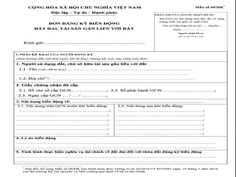 Hinh 1 - Hướng dẫn cách ghi đơn đăng ký biến động đất đai, tài sản gắn liền với đất.