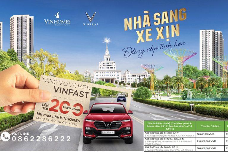 Khách hàng sẽ được nhận ngay voucher mua xe VinFast khi mua nhà