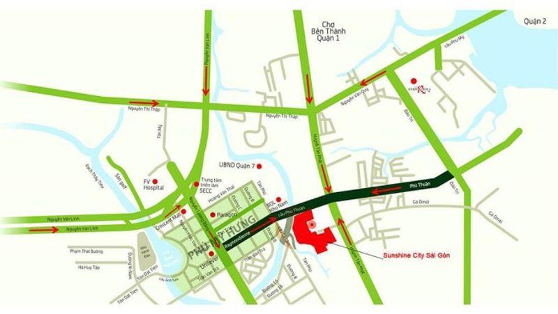 Sunshine City Sai Gon nam tren cac tuyen duong quan trong cua quan 7 - SUNSHINE CITY