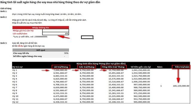 bang tinh lai suat ngan hang mua nha hang thang - Tìm hiểu về bảng tính lãi suất ngân hàng mua nhà hàng tháng