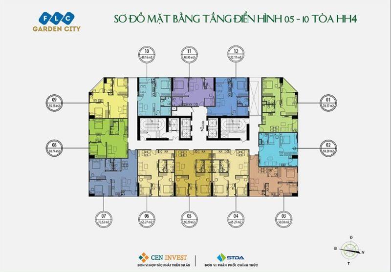 Mat bang tang 5 10 toa HH4 - FLC ĐẠI MỖ (FLC GARDEN CITY)