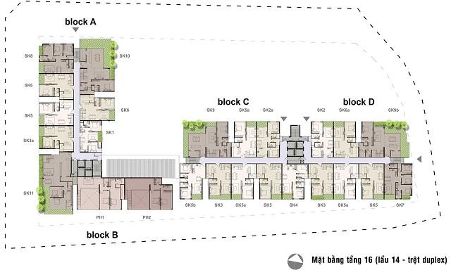 Mặt bằng tầng 16(Duplex) Căn hộ Opal Garden
