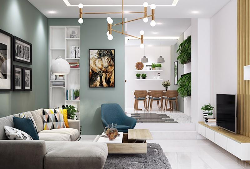 Phong khach thiet ke theo phong cach hien dai the hien net phong khoang - [ Top 12 + ] Mẫu thiết kế nội thất chung cư tại Hà Nội đẹp nhất