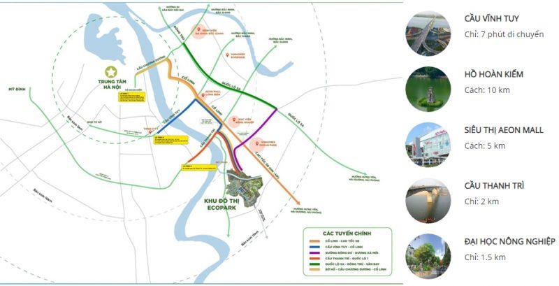Sol Forest Ecopark cạnh nhiều tuyến đường huyết mạch