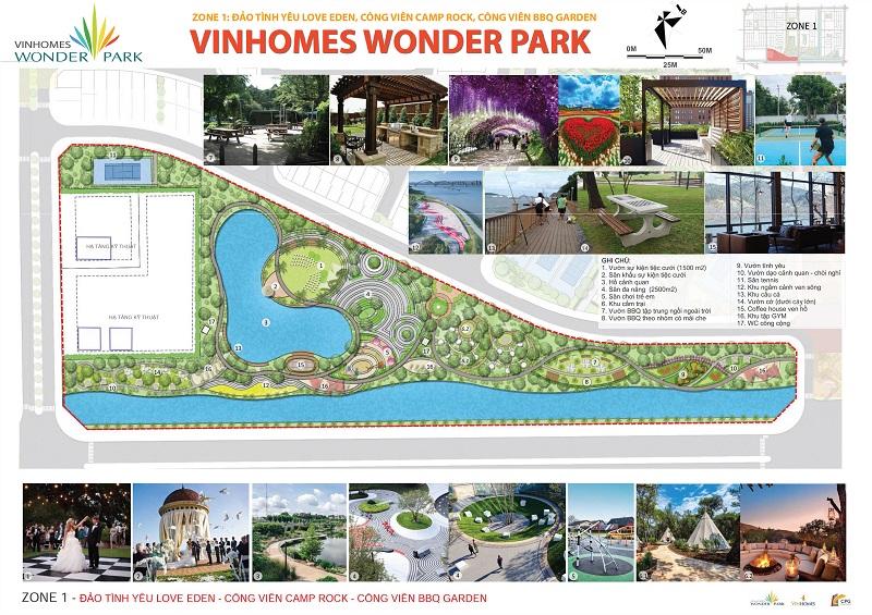 ZONE 1: Đảo Tình Yêu Love Eden, Công Viên Camp Rock, Công Viên BBQ Garden Vinhomes Wonder Park