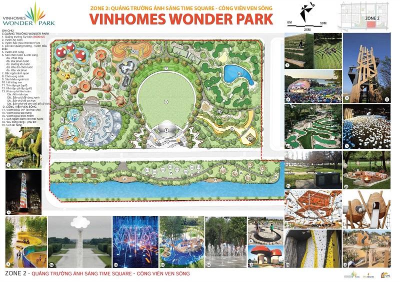 ZONE 2: Quảng trường Ánh Sáng Time Square - Công Viên Ven Sông Vinhomes Wonder Park