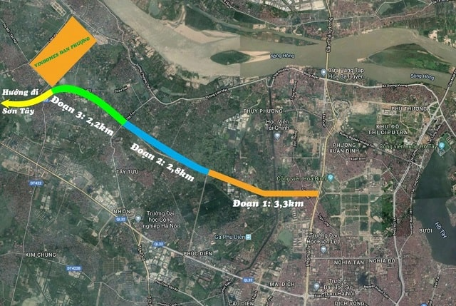 Dự án đại lộ Tây Thăng Long gần Vị trí Vinhomes Đan Phượng đang thi công