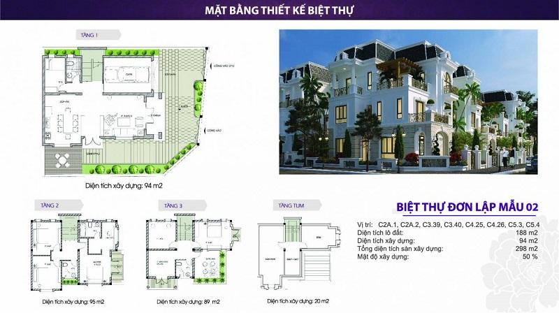 Mat bang can biet thu dien tich 188m2 - The Phoenix Garden Đan Phượng