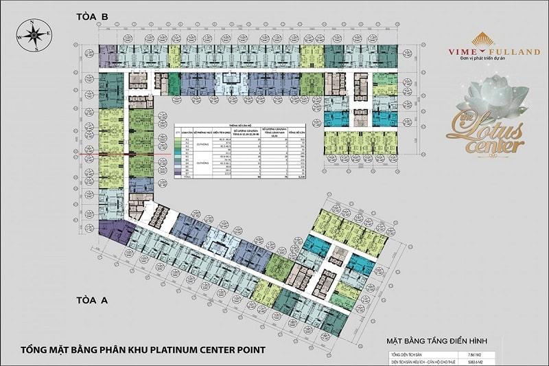 Mat bang phan khu Platinum Center Point cua du an The Lotus Center - The Lotus Center Hồ Tây | Chính Sách & Giá Bán Chung Cư Shophouse