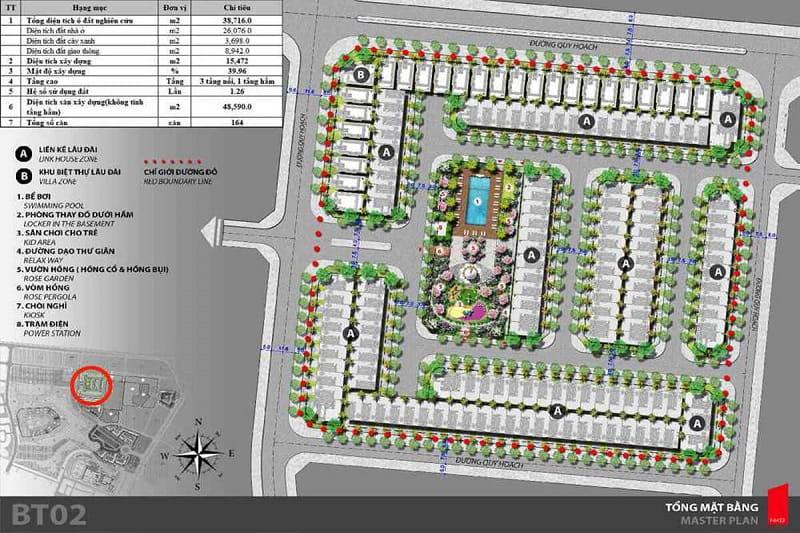 Mat bang phan khu biet thu lau dai BT02 Green Center Villas - The Lotus Center Hồ Tây | Chính Sách & Giá Bán Chung Cư Shophouse