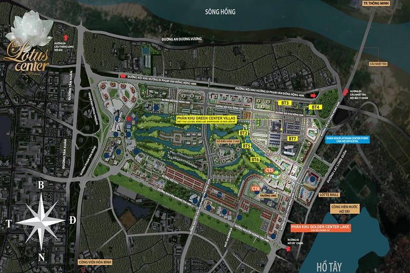 Mat bang tong quan du an The Lotus Center - The Lotus Center Hồ Tây | Chính Sách & Giá Bán Chung Cư Shophouse