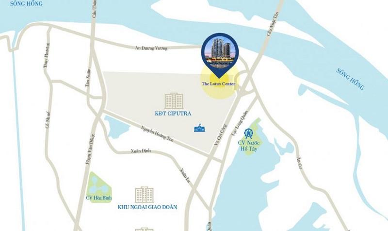 Vi tri - The Lotus Center Hồ Tây | Chính Sách & Giá Bán Chung Cư Shophouse