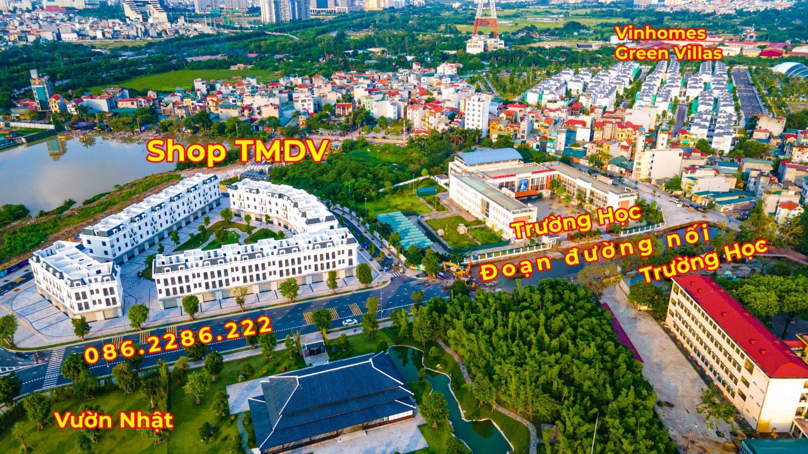 Đoạn đường nối Shop thương mại dịch vụ Vinhomes Smart City Vườn Nhật với Biệt thự Vinhomes Green Villas đang triển khai