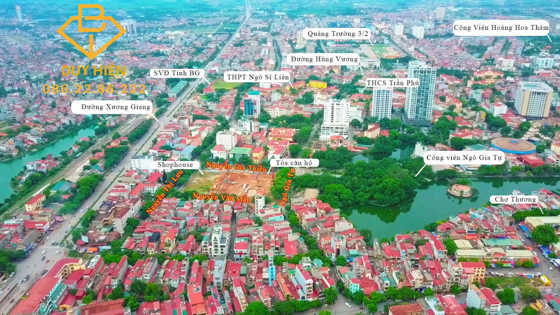 Vị trí Vinhome Bắc Giang Sky Park với 4 mặt thoáng nhìn trọn thành phố