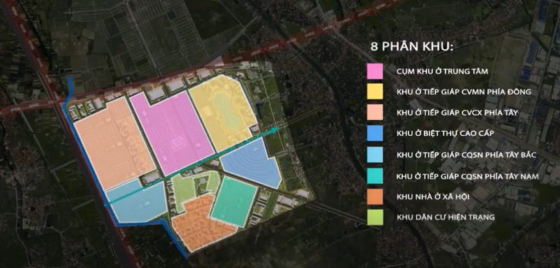 Vinhomes Dream City được chia làm 8 phân khu