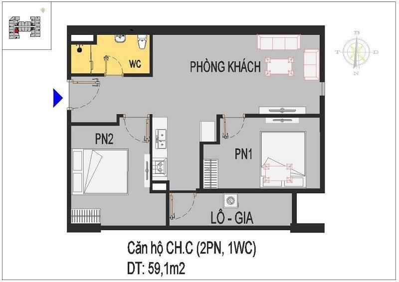 Căn hộ thiết kế 2 phòng ngủ C