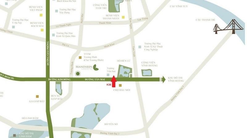 Chung cư K35 Tân Mai nằm trên những tuyến đường huyết mạch của Hà Nội