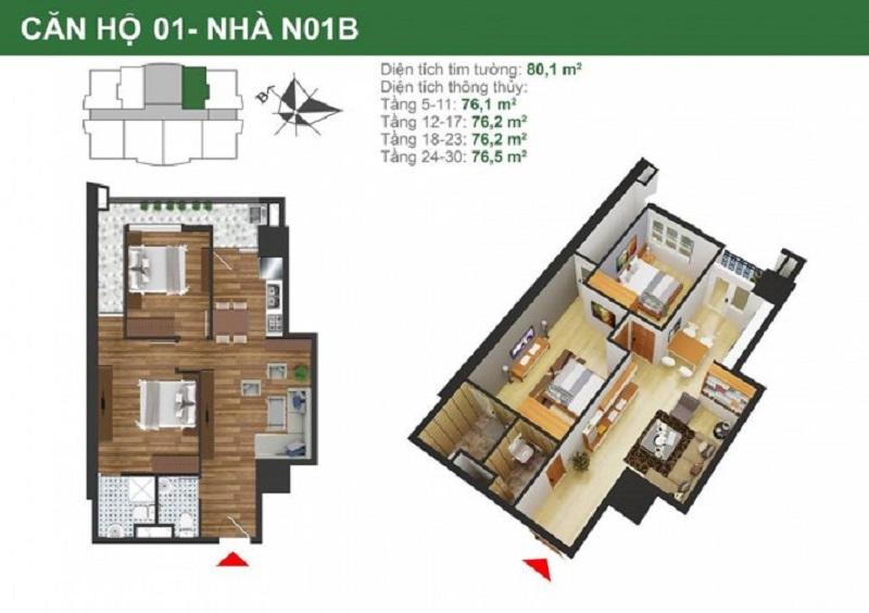 Mặt bằng căn hộ 2 phòng ngủ tòa nhà N01B