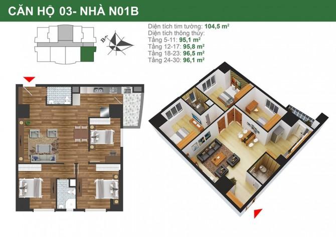 Mặt bằng căn hộ 3 phòng ngủ tòa nhà N01B chung cư K35 Tân Mai