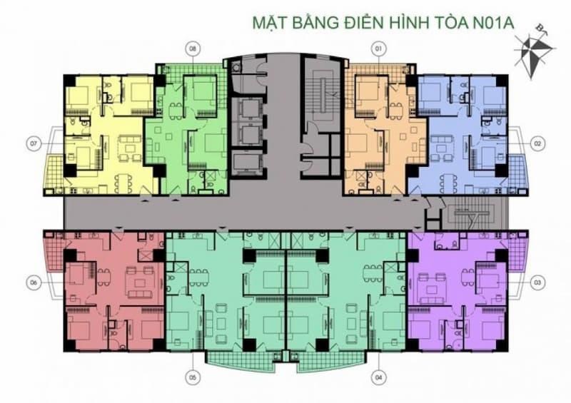 Mặt bằng điển hình tòa N01A chung cư K35 Tân Mai